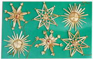 Straw Ornaments - 6 per Card - (H1-95)