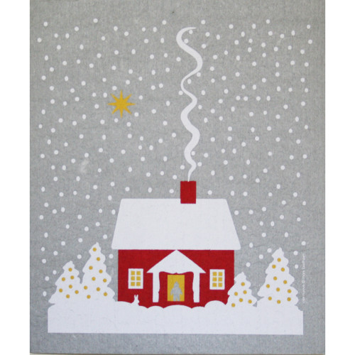 Swedish Dishcloth - Snowy House-Stuga (219.32)