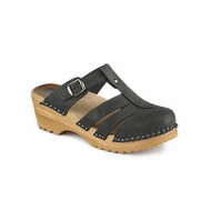 Mary Jane Clog-Sandals in Graphite Suede (6077-109)