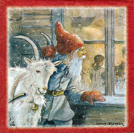 Tomte at Window Luncheon Napkins (11091801B)