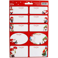 Tomte Nisse Christmas Sticker/labels - Inger Wikstrom Oredsson - 20 Pack (12109301A)