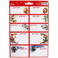 Tomte Christmas Sticker/labels - Lars Carlsson - 20 Pack (12109301B)
