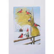 Sheaf with Bullfinch - Christmas Card w/Envelope (91275)