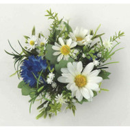 "Candle Ring - Daisy Cornflower - White, Blue - 4"" (E140-BW)"