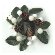 "Candle Ring - White Berry Leaf - 3"" (E149-WG)"