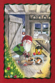 Tomte Nisse in Barn Christmas Card (66-710)