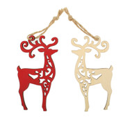 Wooden Laser Christmas Ornaments - Reindeer - 6 pk. Set (7360R)