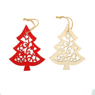 Wooden Laser Christmas Ornaments - Tree - 6 pk. Set