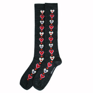 Bengt & Lotta Knee Socks - Heart - Grey - Large - merino wool/cotton blend (713119LG