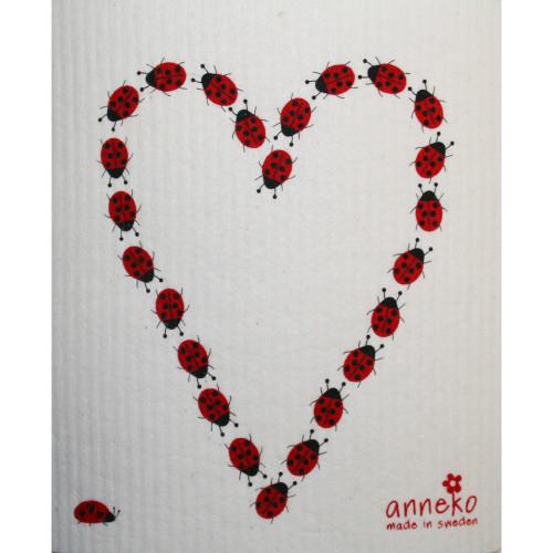 Swedish Dishcloth Ladybug Heart Scandinavianshoppe