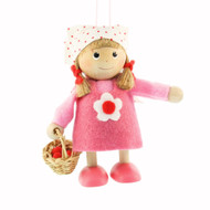 "Girl with Basket Ornament - 4"" - Pink Dress (26251)"