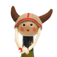 """Viking Girl Bottle Topper - 4"""" - Wooden/Felt (26248)"""