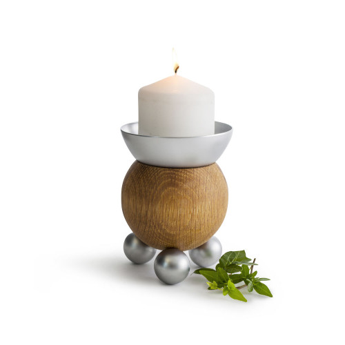 "Sagaform Oval Oak Candle Holder - 5"" - Pillar or Standard Candle"