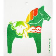 Swedish Dishcloth - Traditional Dalahorse - Green (56189G