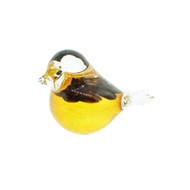 "Bianco-Blue-Finnish Glass Bird - Amber - 2.5""H X 3"" L (20-0007)"