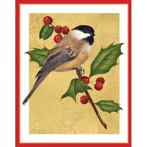 Caspari Christmas Cards Chickadee And Holly Scandinavianshoppe