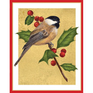 Chickadee And Holly Christmas Card Box A Size 16 In (87017)