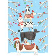 Christmas Dog Tower Christmas Card Box B Size 16 In (87115)