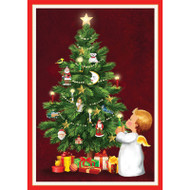 Angel With Candle And Tree Christmas Card Box B Size 16 In (87108)