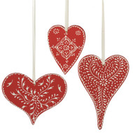 "Wooden Heart Ornaments - 3 Piece Set - 4.5"" (103630)"