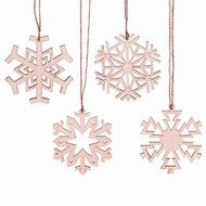 "Nordic Wooden Snowflake Ornaments - 4 Piece Set - 4"" (129083)"