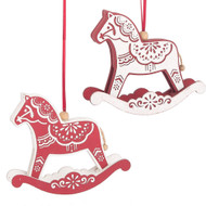 "Rocking Dalahorse Wooden Ornaments - 2 Piece Set - 5"" (137292)"