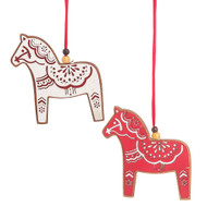 "Dalahorse Wooden Ornaments - 4"" - Set of 2 (137300)"