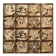 "Wooden Nordic Christmas Ornament Collection - 48 pc Set - 1.5"" (141176)"