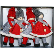 Tomte-Santa Girls and Boys Ornaments - 4 Pack - Red and Grey (H1-2045