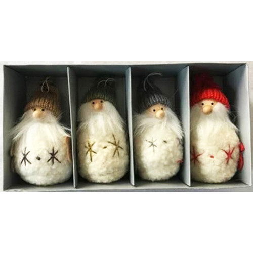 Tomte-Santa w/Star Ornaments - 4 inch - 4 Pack (H1-2357)