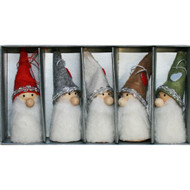 Nordic Tomte-Santa Ornaments - 3 inch - 5 Pack - Assorted Colors (H1-2159)