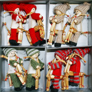 Tomte Boys & Girls on Straw Goat Ornaments - 8 pack (H1-2328)