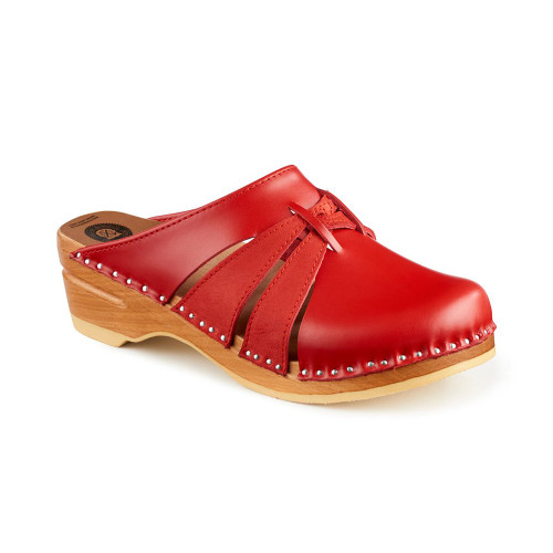 Lisa Clogs in Red/w Red Suede (111-036)