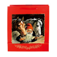 "Christmas Gift Bag - Jultomtar Nisse with Horses - 10"" x 13"" - Jenny Nystrom (14441301)"