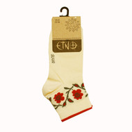 Women's Low Cut Socks - Red Flowers Natural (8276)