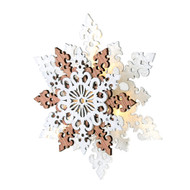 "Lighted Laser Cut Snowflake Ornament - 6"" - Wooden (NF0389A)"