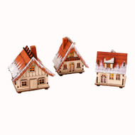 "Lighted Wooden Nordic House Ornaments - 3.5"" - Set of 3 (CY0021)"