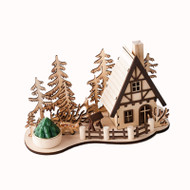 "Wooden Nordic Mountain House Scene w/Votive Candle - 10"" (Copy of CY0021)"