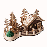 Wooden Nordic Lake House Scene w/Votive Candle - 10""
