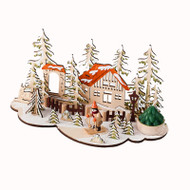 "Wooden Nordic Chalet House Scene w/Votive Candle - 10"" (CY0018C)"