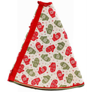"""Mittens and Snowflakes Jute Tree Skirt - 48"""" Diameter (RT0406)"""