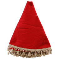 "Red Burlap Tree Skirt w/Jute Tassles - 57"" Diameter (RT0474)"