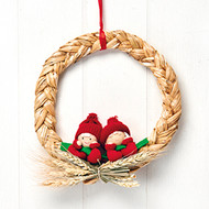"Straw Wreath with Pixies - 9"" (9450)"