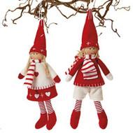 Scandinavian Boy & Girl Pixy Ornaments - Set of 2 (8587)
