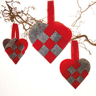 Felt Braided Hearts - Asst. sizes - 3 pack