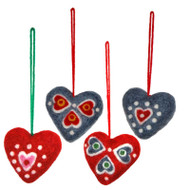 Heart Felt Ornaments - 2 inches - 4 Pack by Klippan (591055)