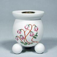 "Swedish Barrel Candle Holder - White w/Linnea - 3"" (4052)"