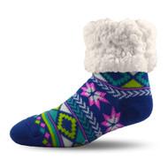 Geometric Blue Slipper Socks (GEO-BLU-SS)