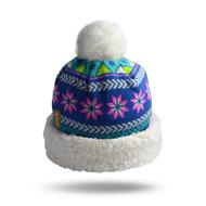 Geometric Blue Knit Hat (GEO-BLU-H)
