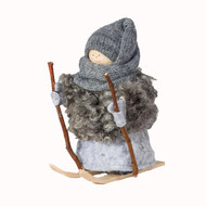 "Tomte Santa Girl with Skis and Poles - Grey - 5"" (17103S)"